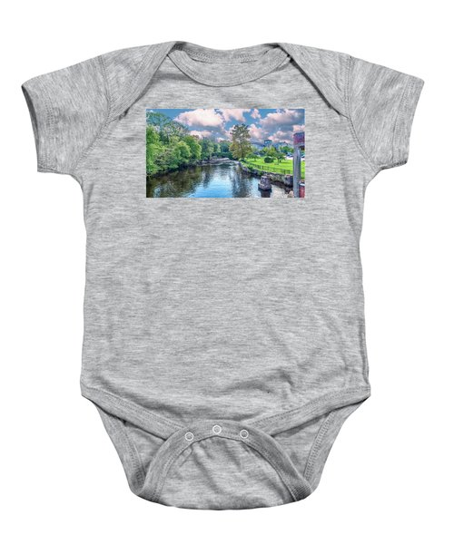 Willimantic River With Clouds Baby Onesie