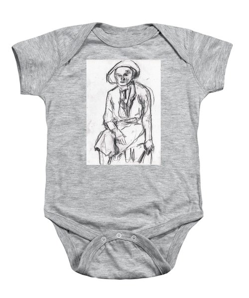 Woman In A Hat Drawing Baby Onesie