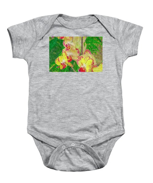 Yellow/rouge Orchids Baby Onesie