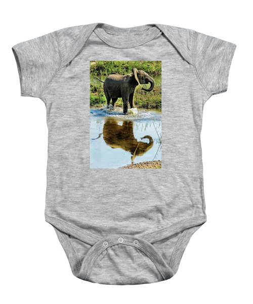 Young Elephant Playing In A Puddle Baby Onesie