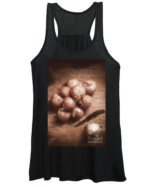 Digital Painting Of Brown Onions On Kitchen Table Women's Tank Top