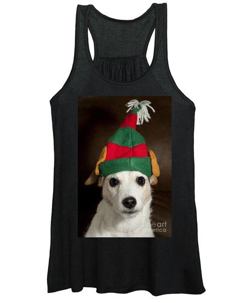Dog Wearing Elf Ears, Christmas Portrait Women's Tank Top