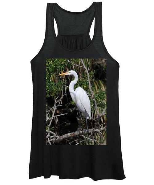 Great Egret Perched In Fallen Tree Women's Tank Top