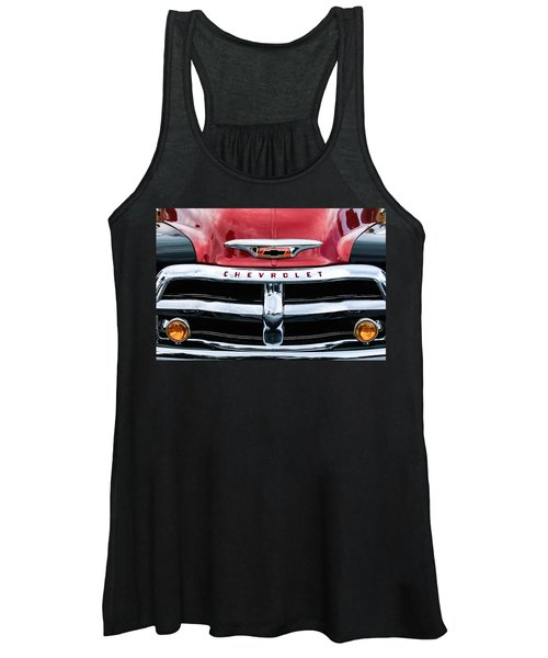 1955 Chevrolet 3100 Pickup Truck Grille Emblem Women's Tank Top