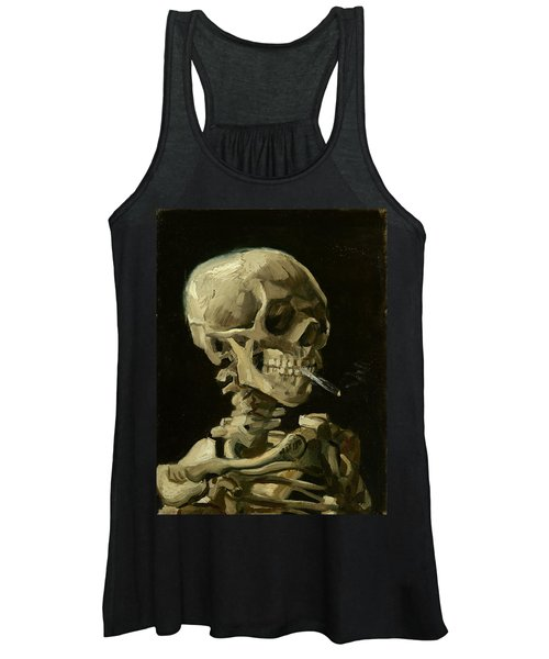 Head Of A Skeleton With A Burning Cigarette Women's Tank Top