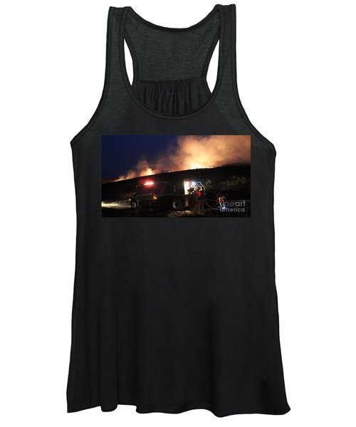 An Engine Crew Works At Night On White Draw Fire Women's Tank Top