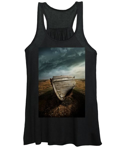 An Old Wreck On The Field. Dramatic Sky In The Background Women's Tank Top