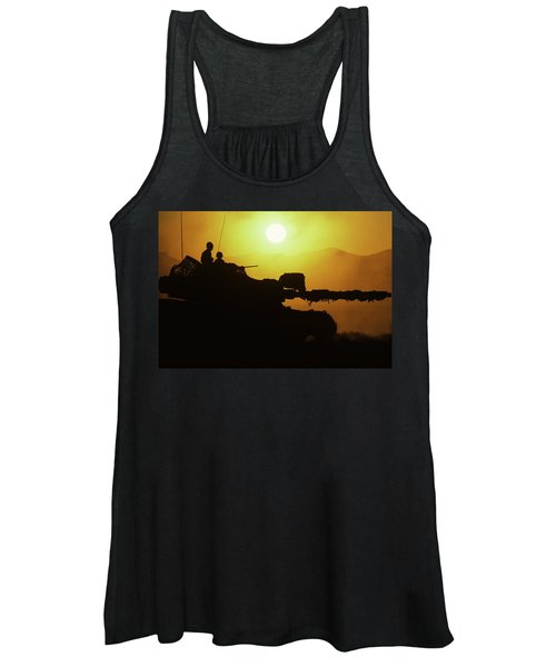 Army Tank With Camouflage In Training Women's Tank Top