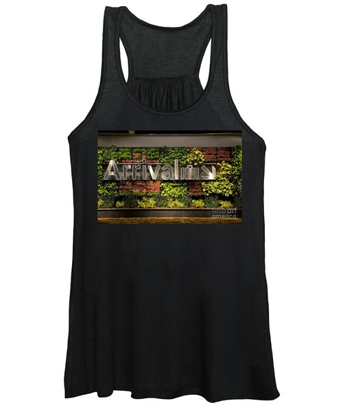 Arrival Sign Arrow And Flowers At Singapore Changi Airport Women's Tank Top