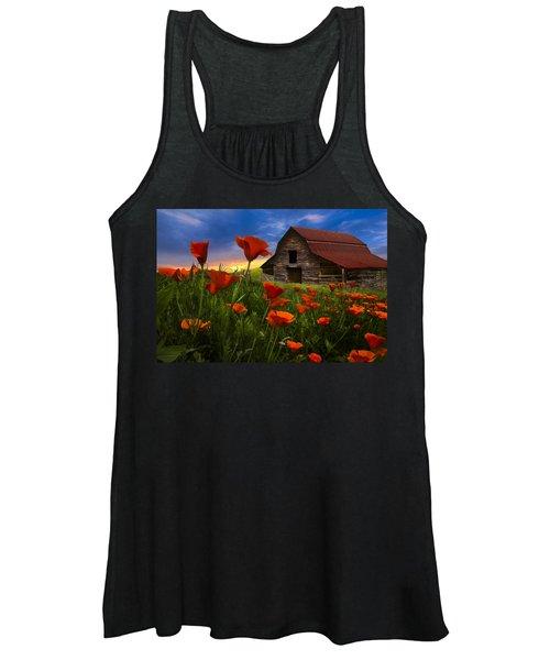 Barn In Poppies Women's Tank Top