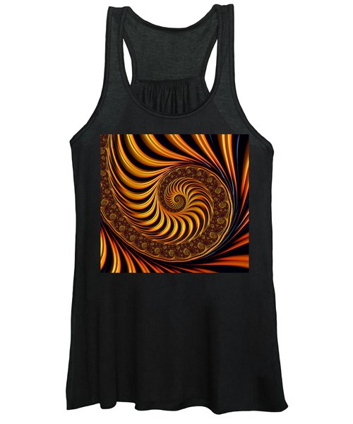 Beautiful Golden Fractal Spiral Artwork  Women's Tank Top
