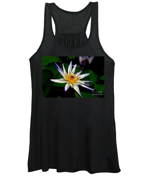 Beautiful Violet White And Yellow Water Lily Flower Women's Tank Top