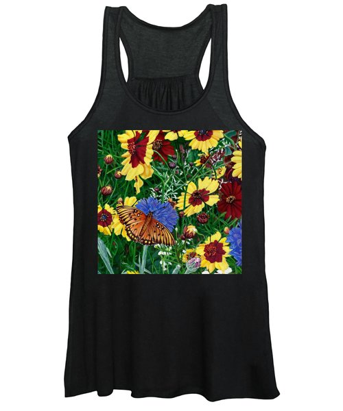 Butterfly Wildflowers Garden Floral - Square Format Image - Spring Decor - Green Blue Orange-2 Women's Tank Top