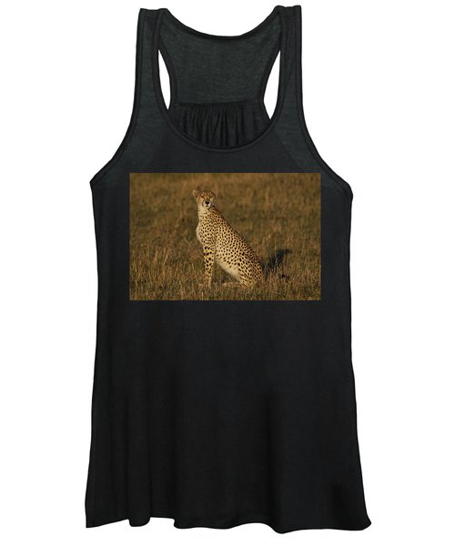 Cheetah On Savanna Masai Mara Kenya Women's Tank Top