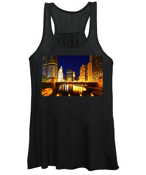 Chicago Skyline Night River Women's Tank Top