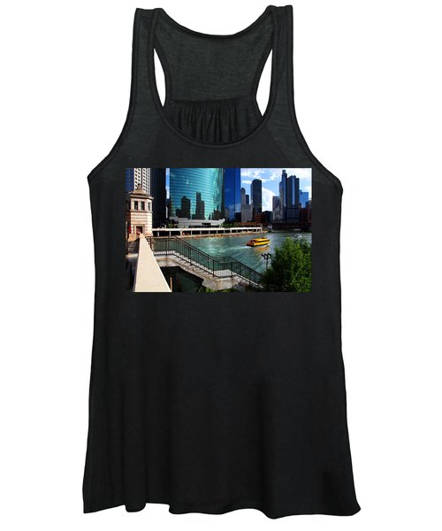 Chicago Skyline River Boat Women's Tank Top