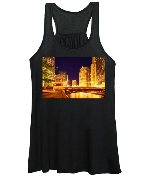 Chicago Skyline River Bridge Night Women's Tank Top
