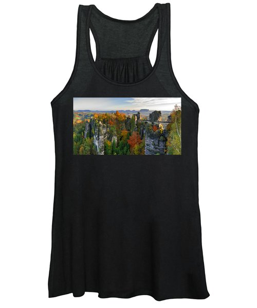 Colorful Bastei Bridge In The Saxon Switzerland Women's Tank Top