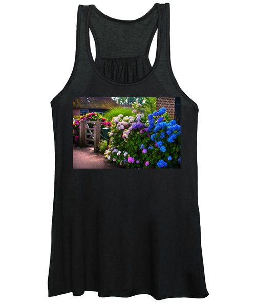 Colorful Hydrangea At The Gate. Giethoorn. Netherlands Women's Tank Top