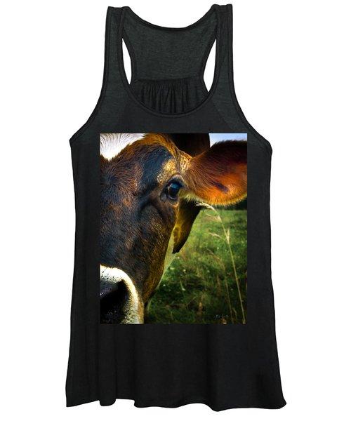 Cow Eating Grass Women's Tank Top