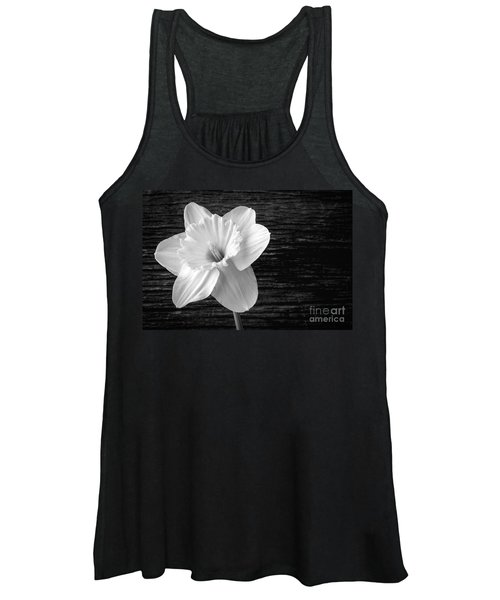 Daffodil Narcissus Flower Black And White Women's Tank Top
