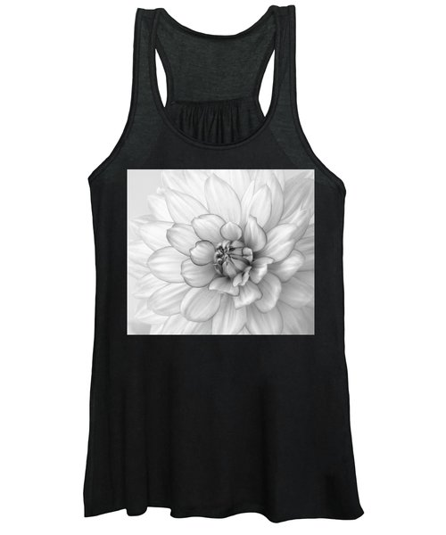 Dahlia Flower Black And White Women's Tank Top