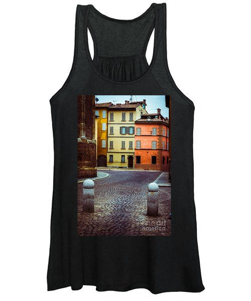 Deserted Street With Colored Houses In Parma Italy Women's Tank Top