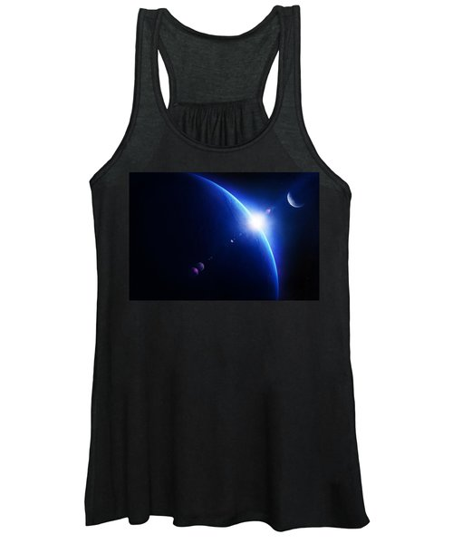 Earth Sunrise With Moon In Space Women's Tank Top
