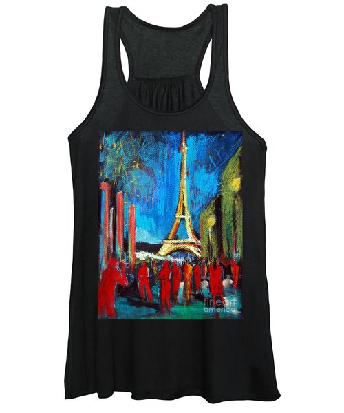 Eiffel Tower And The Red Visitors Women's Tank Top