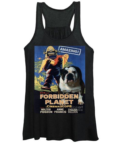 English Bulldog Art Canvas Print - Forbidden Planet Movie Poster Women's Tank Top