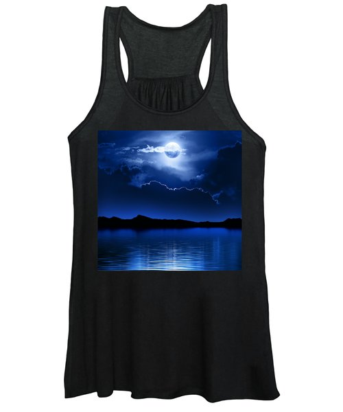 Fantasy Moon And Clouds Over Water Women's Tank Top