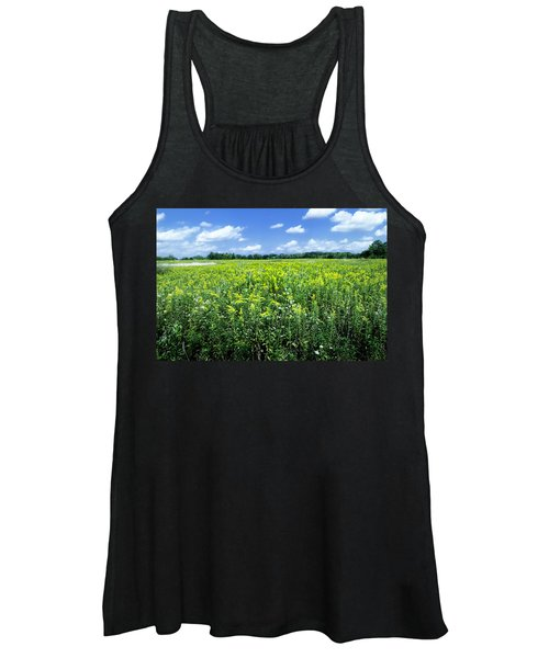 Field Of Flowers Sky Of Clouds Women's Tank Top