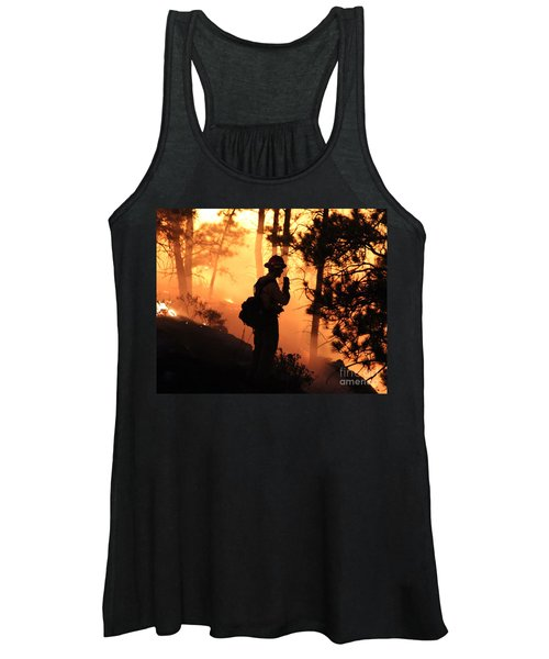 Firefighter At Night On The White Draw Fire Women's Tank Top