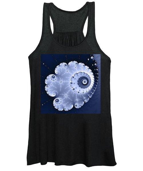 Fractal Spiral Light And Dark Blue Colors Women's Tank Top