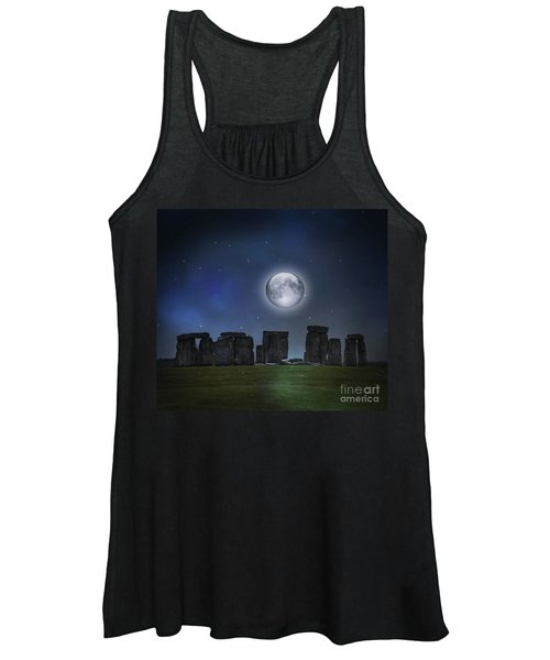 Full Moon Over Stonehenge Women's Tank Top