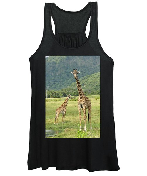 Giraffe Mother And Calftanzania Women's Tank Top