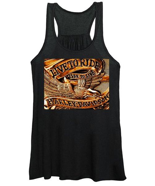 Golden Harley Davidson Logo Women's Tank Top