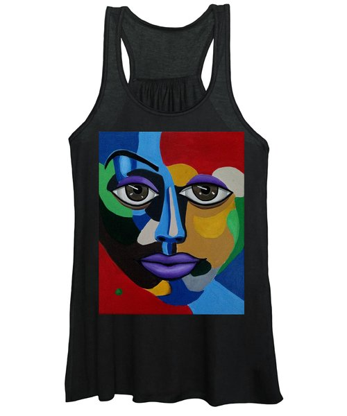 Colorful Illusion Abstract Face Art Painting, Big Brown Eye Art, Optical Artwork Women's Tank Top