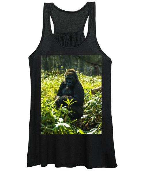 Gorilla Sitting On A Stump Women's Tank Top