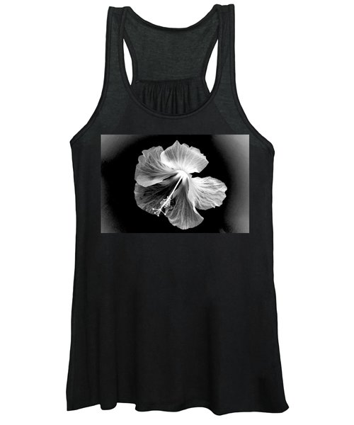 Hibiscus In Black And White Women's Tank Top