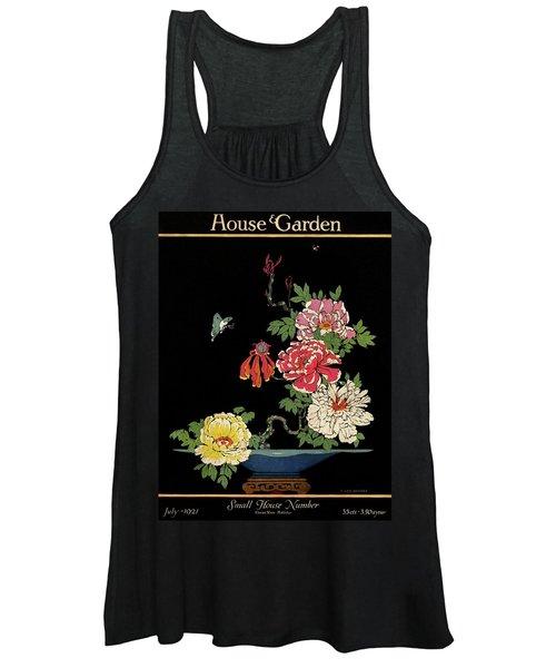 House & Garden Cover Illustration Of Peonies Women's Tank Top