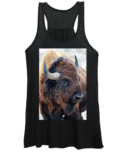 Bison The Mighty Beast Bison Das Machtige Tier North American Wildlife By Olena Art Women's Tank Top