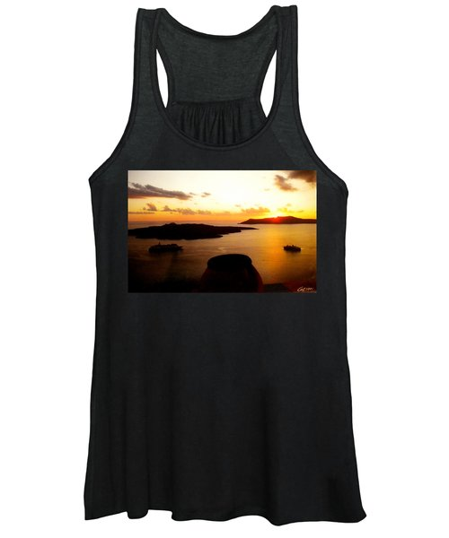 Late Sunset Santorini  Island Greece Women's Tank Top