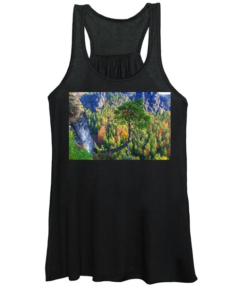 Lonely Tree In The Elbe Sandstone Mountains Women's Tank Top