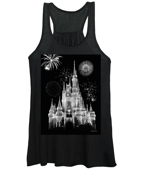 Magic Kingdom Castle In Black And White With Fireworks Walt Disney World Women's Tank Top