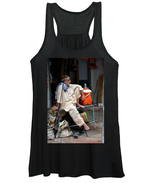 Man Sits And Relaxes In Lahore Walled City Pakistan Women's Tank Top