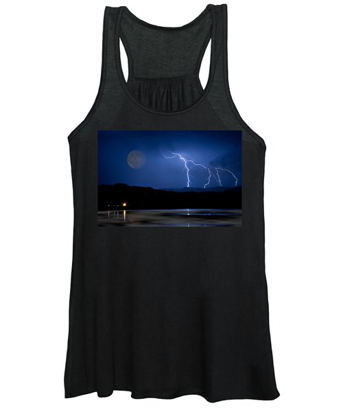 Misty Lake Full Moon Lightning Storm Fine Art Photo Women's Tank Top