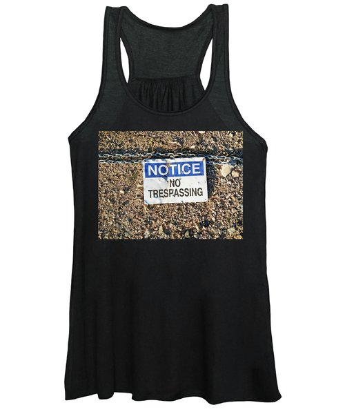 No Trespassing Sign On Ground Women's Tank Top