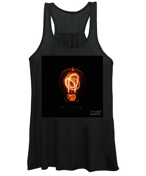 Old Fashioned Edison Lightbulb Filaments Macro Accented Edges Digital Art Women's Tank Top