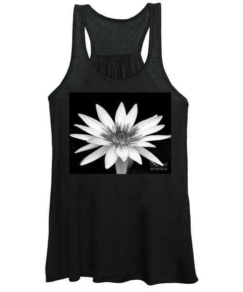 One Black And White Water Lily Women's Tank Top